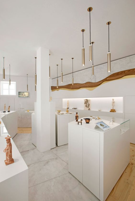 art museum antique glass display cabinet and wall display designs (29)