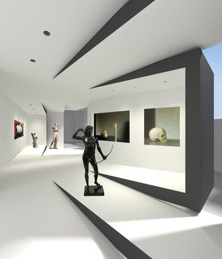 art museum antique glass display cabinet and wall display designs (37)
