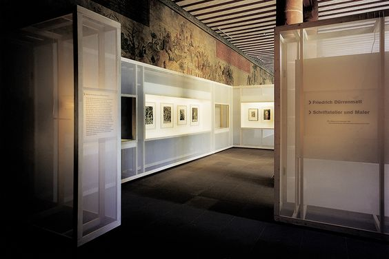 art museum antique glass display cabinet and wall display designs (60)