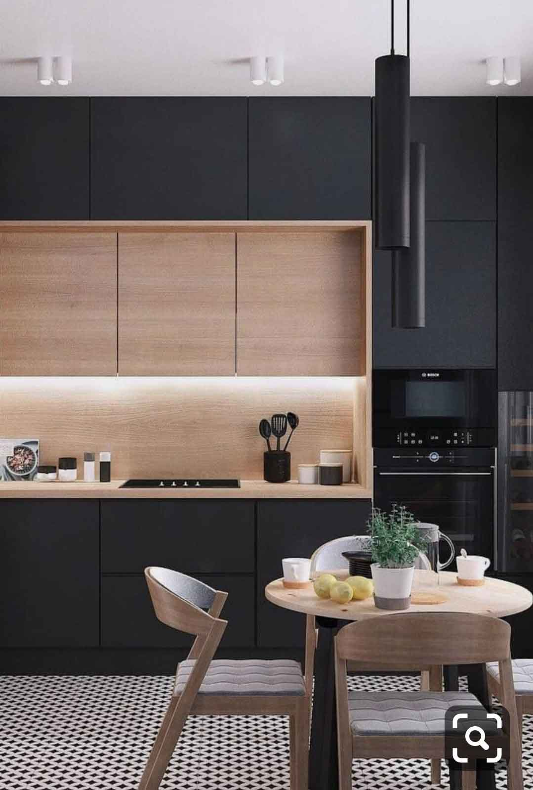 grey kitchen cabinet witht wood grain combination
