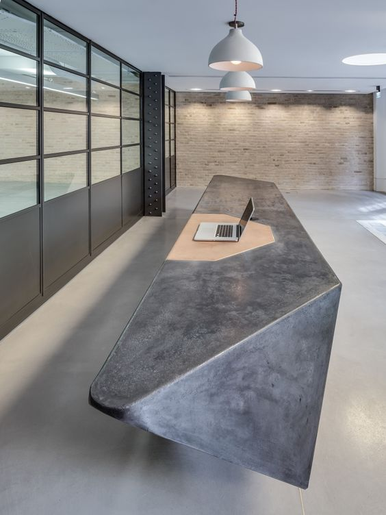 reception table with cement finish
